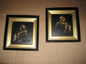 Mid Century Matched Pair Brass Horse Sculptures Mounted in Black amp; Brass Frames $275.00