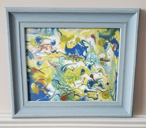 """Framed and Signed Original Abstract Paint Pour Art 8""""x10"""" $35.00"""
