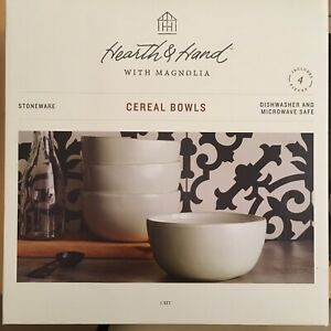 Hearth & Hand With Magnolia Set of 4 Cream/White Stoneware Cereal Soup Bowls NEW