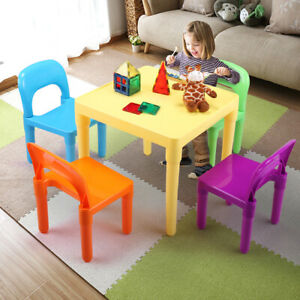 Kids Plastic Table and 4 Chairs Set for Toddler Lego Reading Writing Activity