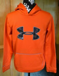 Under Armour Storm Hoodie Size Large Youth Orange Camo Cold Gear Sweatshirt $12.99