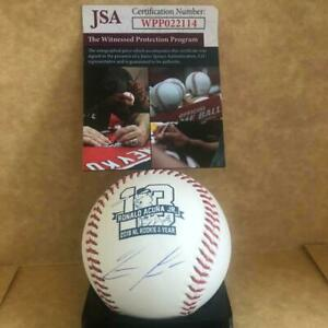 RONALD ACUNA BRAVES SIGNED AUTO 2018 NL ROY BASEBALL SIGNED UNDER LOGO JSA $229.99