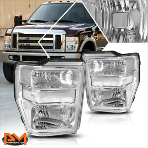 For 08 10 Ford F250 F350 Super Duty Chrome Housing Headlight Clear Corner Lamps