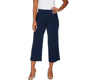 H by Halston Petite Knit Cropped Wide Leg Pants Navy Petite XSP A303208