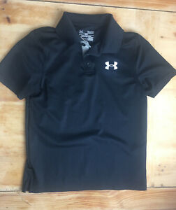Youth Boys Under Armour Heat Gear Black Collared Shirt Golf Size Small $7.59