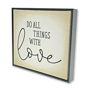 Do All Things With Love Framed Canvas Wall Art Bible Scripture Home Decor Sign