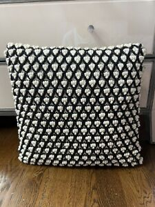 CRATE and BARREL Woven Wool Throw Pillow 18x17 Black And White