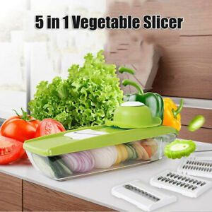 5 in 1 Mandolin Vegetable Food Slicer Julienne and Container Peel Cut Slice -