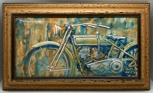 Original Painting Vintage Motorcycle Signed amp; Dated 2010 Mystery Artist? $145.00
