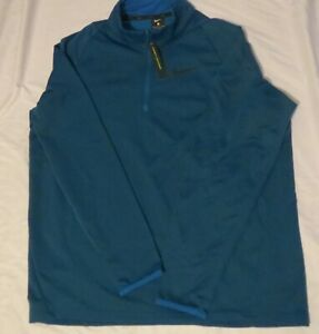 Mens NIKE XL Therma Quarter Zip Training Pullover Blue Jacket CJ7661 484 $45.00