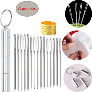 21 Pcs Large Eye Hand Sewing Needles Thimble Yarn Knitting Embroidery Craft Tool $6.29