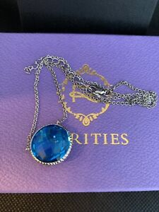 Rarities Necklace Gemstone amp; Sterling Silver Drop 16quot; Chain Topaz Pendant NIB