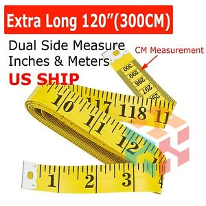Yellow 120quot; Body Measuring Ruler Sewing Cloth Tailor Tape Measure Seamstress