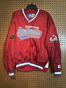 Starter NHL Men's Sz Large Colorado Avalanche Pullover Jacket Stain #14 $21.95