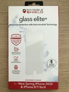 NEW Invisible Shield Glass Glass Elite Antimicrobial for iPhone SE 8 7 6s 6