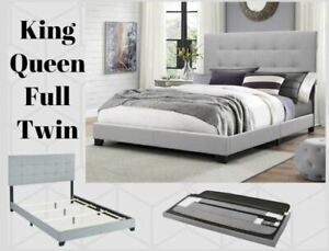 Platform Upholstered Gray Tufted Fabric Bed Frame Headboard King Queen Full Twin