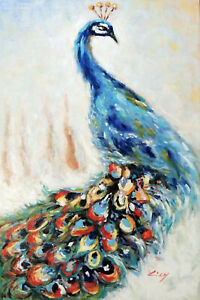 Peacock Modern Art Abstract Bird Portrait Tall 24X36 Oil Painting Stretched $111.11