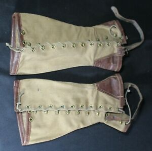 Antique Canvas amp; Leather Boot Gaiters Spats Size 2 no. 5456 $40.00