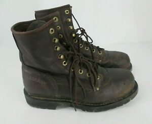 Georgia Work Boot Mens Sz 9.5 D Georgia 8510 Steel Toe Brown Leather 8quot;