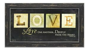Love One Another Sign Wall Art Framed Picture Print Bible Scripture Home Decor