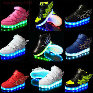 Boys Girls LED Light up Lace Up Luminous Sneakers Kids Children Casual Shoes $29.99
