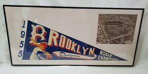1955 Vintage Brooklyn Dodgers World Champions Pennant Framed Pre Owned $199.99