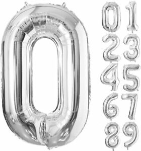 40 Inch Silver Foil Balloons Number 0 9 for Birthday Anniversary Party. Glowyms