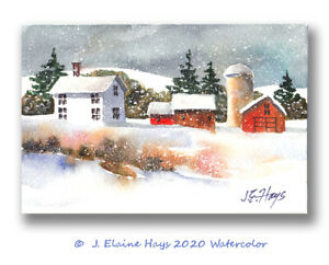 Snowy Winter Farmhouse amp; Barns ORIGINAL WATERCOLOR PAINTING Postcard Size 4x6 $18.00