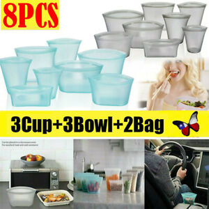 8X Set Silicone Food Storage Bags Zip Leakproof Containers Plastic Free Reusable