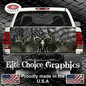 American Deer Buck Skull Flag Truck Tailgate Wrap Vinyl Graphic Decal Wrap
