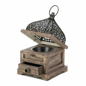 SMALL FLIP TOP WOODEN LANTERN WITH DRAWER $29.95