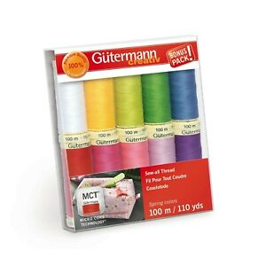 Gutermann Thread Sew All Spring Asst Pack of 10 Spools ea. 110 yds Polyester $15.00