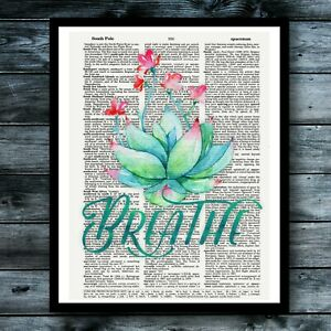 Lotus Flower Yoga Meditation Relax Dictionary Art Print Home Decor Wall Art