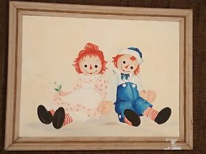 vintage RAGGEDY ANN and ANDY original OIL PAINTING art WOOD FRAME 27quot;x21.25quot; $235.00