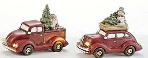 Christmas Light up Red truck Car with Christmas Tree Santa and Snowman 2 pc set