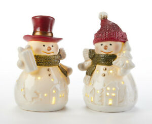 Christmas Holiday Light up 2 pc set 4quot;quot;LED Red Hat Snowman Teachers Gift $22.00