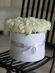 NEW EMPTY WHITE GIFT FLOWER PAPER COATED ROUND HAT BOX
