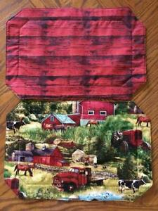 Set of 8 Farm Scene Leaves Placemats 11 x 17 Reversible Red Wood
