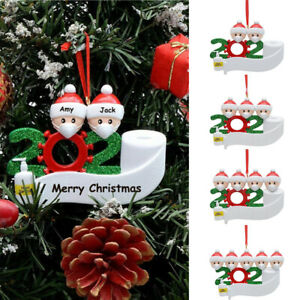 2020 Quarantine Stay at Home Family Of 3 Personalized Tree Christmas Ornament