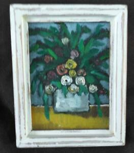 Vintage Painting Miniature Oil Painting Still Life Floral of Flowers Framed Art $48.00