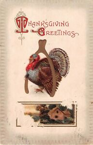 Turkey Under Large Wishbone by Rural Home Scene on 1912 Thanksgiving PC No. 946 $1.99