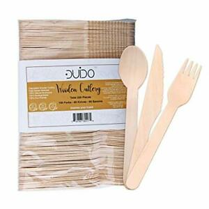 Biodegradable Disposable Wooden Cutlery Utensils – Pack of 220 Wooden...