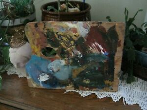 Vintage Artist Wood Palette Original Oil Paints Abstract Home Decor $60.00