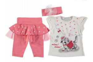 Baby girls shirt and pants clothing set. Cute clothing set with kitty cat design