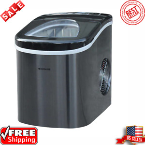 Frigidaire Portable Self Cleaning Compact Ice Maker Black Stainless Steel New