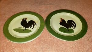 Antique PAW P.A.W. Paul Wranitzky Czech Art Pottery Mini Plate Rooster Pattern