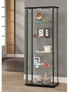 5 Shelf Glass Curio Display Cabinet Tower Black And Clear 950170