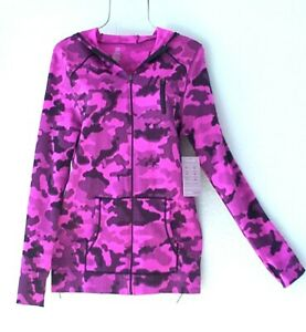 New Fuchsia Pink Camo Camouflage Fitted Jacket Zip Hoodie Top Size Small S