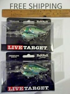 LOT OF 2 KOPPERS LIVE TARGET THREADFIN SHAD BAITBALL 2 1 2quot; DIVES 10#x27; CRANKBAIT