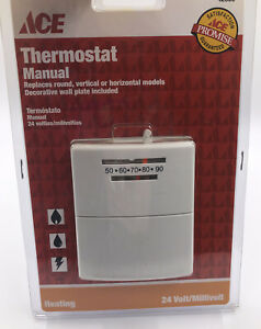 ✅ ACE Mechanical Thermostat 42350 Heating Only 24 Volt With Wall Plate NEW